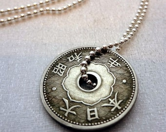 Antique Japanese coin necklace - 10 sen coin - Japan necklace - Japan jewelry - antique coin necklace - kanji necklace - kanji jewelry
