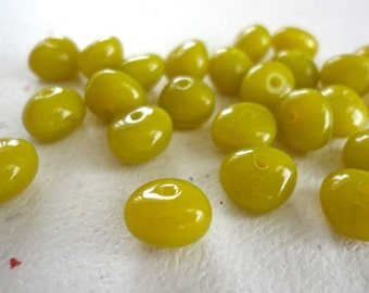Chartreuse Nuggets 6x8mm Czech Glass Bead Nugget Beads 25 Pieces (N125)