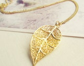 Rose Gold Skeleton Leaf Necklace. Filigree Leaf Pendant. Simple Minimal Jewelry