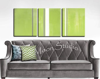 """Painting Abstract Art XLarge 54"""" x 24""""  Chartreuse Green and Gray Art"""