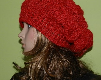 Winter Slouchy Hat in Rich Red, Rasta Hat, Hipster Slouchy Hat, Hippie Beanie, Chunky Women/Teen Hat Red Rich Boucle