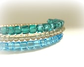 Crystal Memory Wire Wrap Bracelet in Emerald Green, Sky Blue and Light Topaz - Wedding Bracelet, Summer Trends