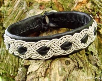 Sami Bracelet ALFHEIM Lapland Swedish Bracelet in Black Reindeer Leather, Pewter Braid and Antler Button - Natural Tribal Elegance