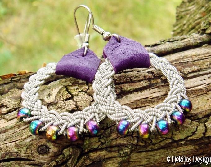 Nordic Viking Braid Sami Earrings RIMFAXE with Rainbow Hematite Beads, Pewter Wire and Purple Reindeer Leather - Custom Handmade