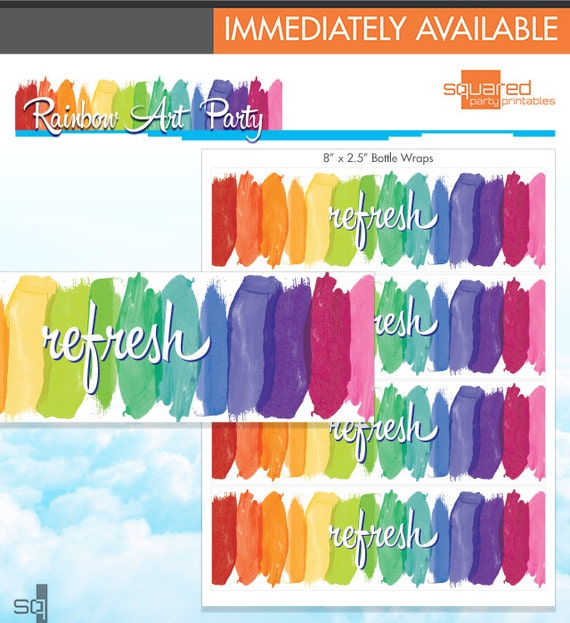 Rainbow party water bottle wraps rainbow art party melted crayon il570xn solutioingenieria Image collections
