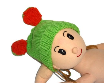 Green Cat Hand-knitted Girls Hat sizes 12-24, 2T-4T. or 5-10Yrs