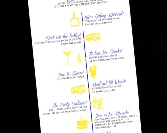Wedding Itinerary Cards - Wedding Timeline - Weddings - Wedding Outline