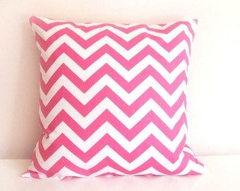 CLEARANCE 70% OFF. Candy Pink Pillow Covers. Chevron Zig Zag. 18 X 18 Inch. Accent Pillow. Toss Pillow. Pink and White.
