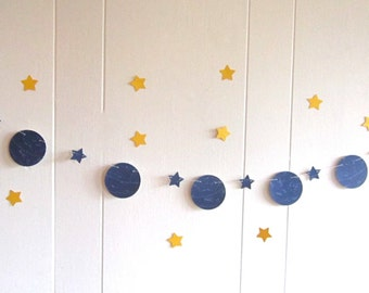 Astronomy Garland, Blue and White, Vintage 1920's Astronomy Book, Space Theme, Space Theme Bedroom, Vintage Wedding, Space Wedding