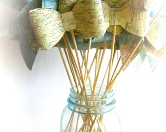 Photo Prop Map Pinwheel, Pinwheel Bouquet, 3, pinwheel prop, map wedding, map pinwheels, map travel shower