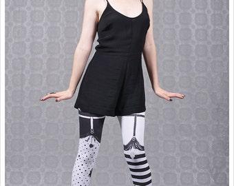 Striped Garter Legging  - Legwear  - Polka Dot Striped Tights - SMALL Legging Womens Tights