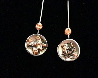 Silver and Copper Dangle Earrings
