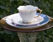 Teacup Bird Feeder Mini White, Blue & Gold Lusterware Garden Decor