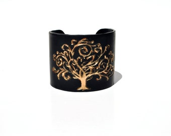 Black and Gold cuff bracelet. Tree.  Branches.  Sparkle.  Gold.  Shimmer.