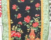 QUILTED Wall Hanging -  ORIENTAL POPPY  34 x 54 inches Red Yellow and Black