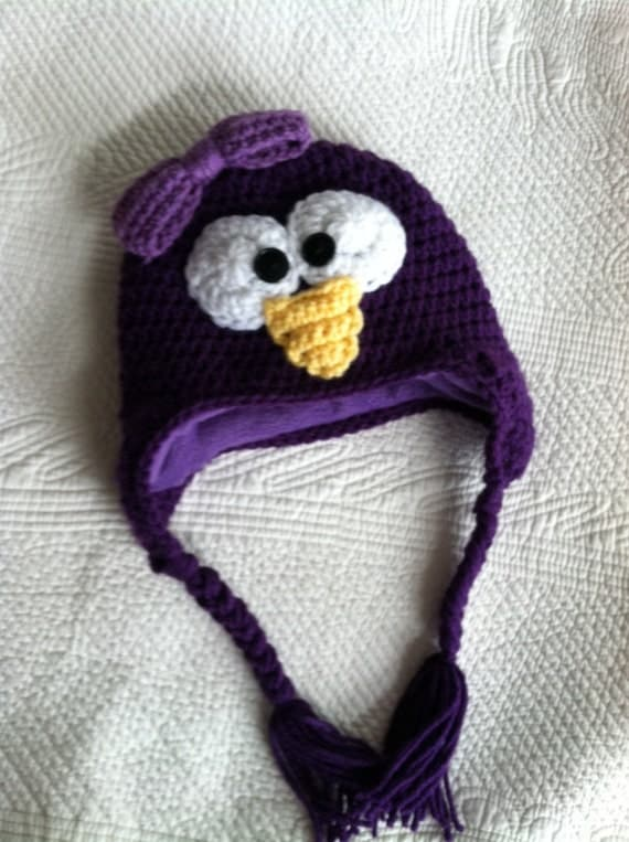 Penguin Hat with Fleece Lining, Child Animal Hat, Penguin Hat, Crochet Baby Hat, Winter Hat, Baby Hat, Newborn Hat, Child Hat