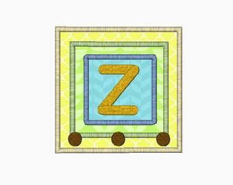 INSTANT DOWNLOAD Alphabet blocks monogram applique font for machine embroidery