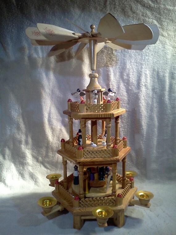 Wood Nativity Windmill 3 Tier German Swedish By Oldmillvintage