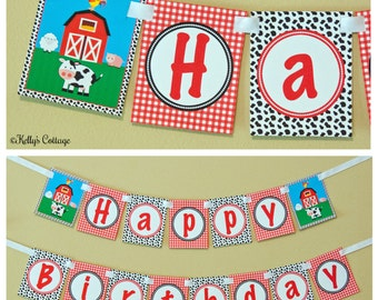 Barnyard Birthday Banner, Instant Download, Printable, Digital