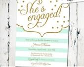 Bridal Shower Invitation, modern glitter shower invite, mint striped engagement invite, sparkle glitter, digital file, printable (JPD102)