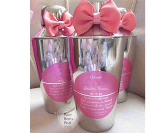 12 - Stainless Steel Martini Shaker Set Party Favors with Personalized Label & Bow in the Color of Your Choice