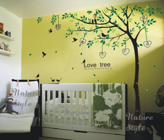Tree with Flying Birds -tree wall decals birds nature vinyl wall decals birds wall mural nursery wall decal name wall sticker photo frame
