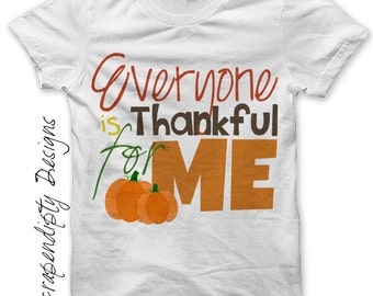 Iron on Thanksgiving Shirt PDF - Thankful for Me Iron on Transfer / Toddler Thanksgiving Outfit / New Baby One Piece / Kids Boys DIY IT323