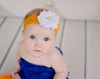 White Gold Yellow Princess Belle Baby Headband - Newborn Headband - Sweet Princess Headband - Newborn Photo Prop - Infant Toddler
