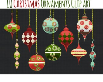 Christmas Clip Art - Christmas Ornaments Clipart- Holiday Graphics - Elegant and Colorful