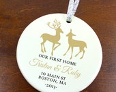 Our First Home Ornament - Love Deer Oh Dear - Doe Buck- Personalized Porcelain Housewarming Holiday Gift - orn127 - Peachwik - Custom Colors