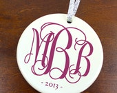Personalized Fancy Monogram Initials Christmas Ornament - New Baby - Porcelain Ornament Holiday Gift - orn135 - Peachwik - Custom Colors