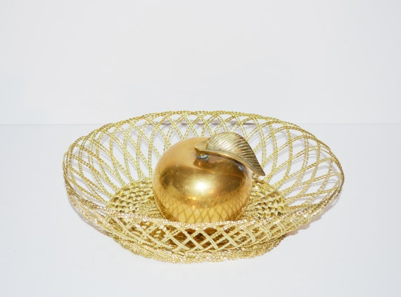 Vintage Gold Basket Decorative Gold Metal Basket Wire Basket