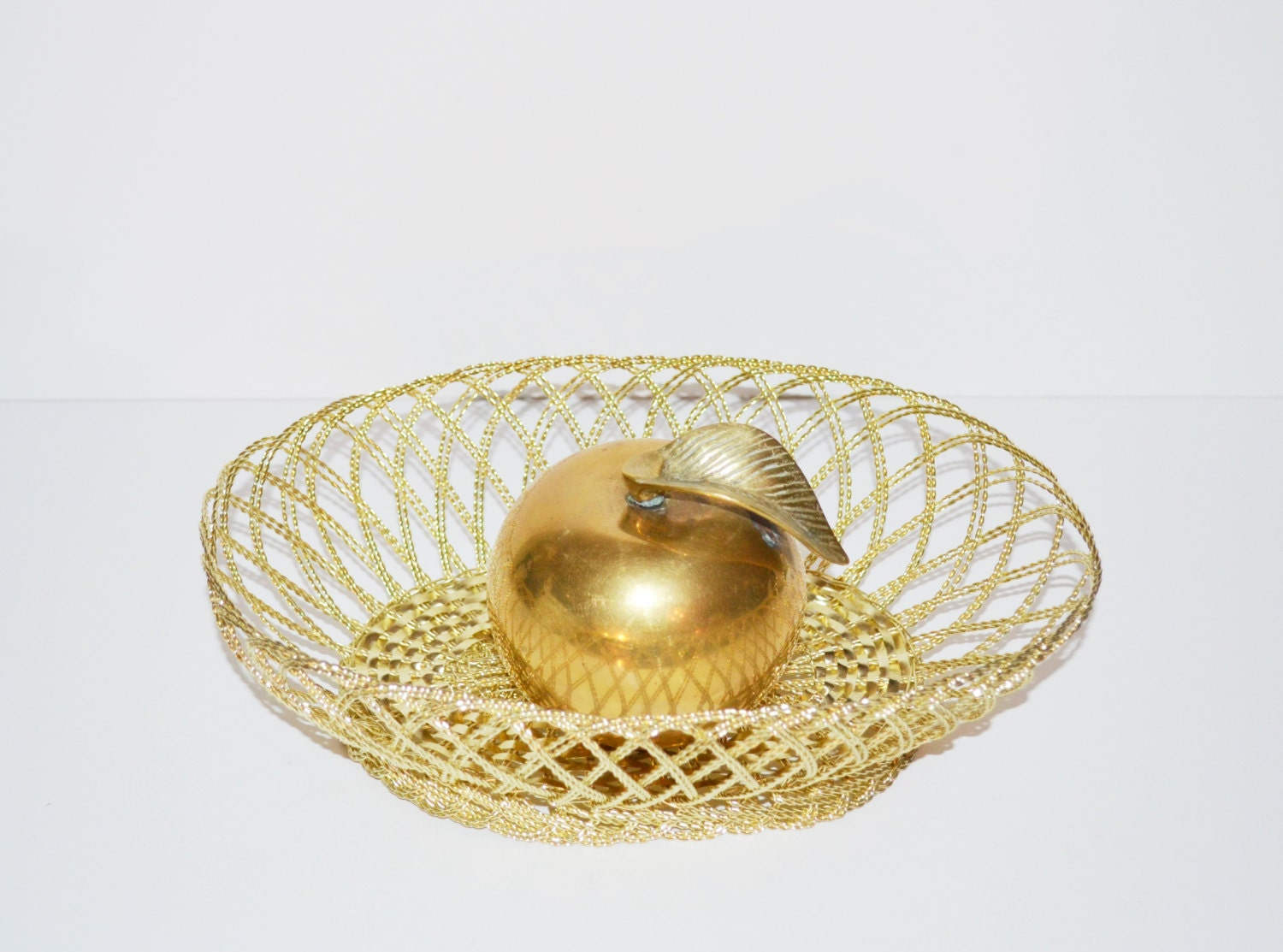 Vintage Gold Basket Decorative Gold Metal Basket Wire Basket
