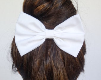 White Hair Bow Clip Women's Accessories Cheer Bow Teens Girls 5x3 Big Statement Bow Handmade Quality Girly Cute Affordable Cotton Fabric Bow