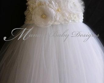 White Flower Girl Tutu Dress / White Baby Girl Baptism Dress / White Vintage Tutu Dress / White Tutu Dress