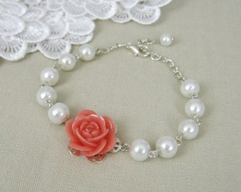 Rose bracelet, Flower pearl bracelet bridesmaid bracelet, bridesmaid gift gifts wedding jewelry flower girl B002