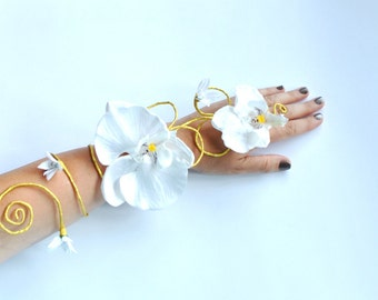 White and gold arm cuff slave bracelet prom corsage beach wedding bouquet bride, bridesmaids, exotic boho style