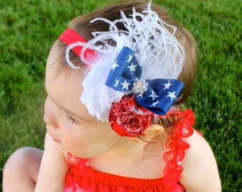 4th of July Baby - Flower Headband - Red White and Blue Hair