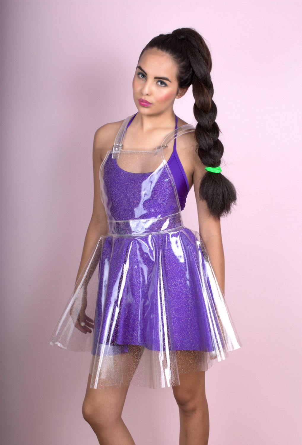 Pvc And Plastic Dresses : Clear holographic glitter vinyl overall dress