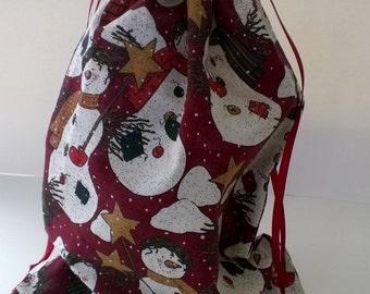 Snowmen Large Christmas Drawstring Fabric Gift Bag Upcycled, Reusable 10 X 13