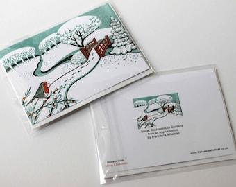 10 Christmas Cards from an original linocut print - Snow, Bournemouth Gardens
