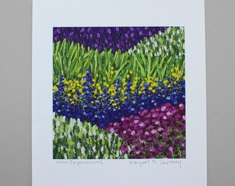 Purple Blue Yellow Pink White Flower Field Giclee Print of Painting