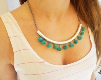 Pom pom Necklace ,Boho Necklace , Green Necklace , Metalwork Necklace , Silver Necklace , Pompom Jewels , Ponpon necklace , Pon pon jewels