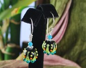 SALE***Wonderful bright and unique lampwork earrings, black, yellow and turquoise earrings, sterling silver earrings, SRAJD
