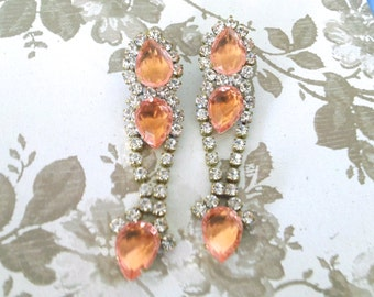 Peach Rhinestone Dangle Drop Earrings  Brides Wedding Jewelry Vintage Fashion Accessory