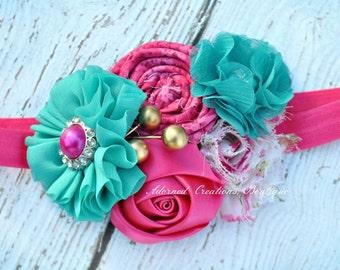 Newborn Headband, Baby Headband, Baby Girl Headband, Toddler Headband, Infant Headband, Girls Headband Pink and Turquoise  Headband