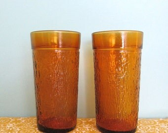 Vintage Amber Reed Glass Tumblers 1970s - Tiki Cups