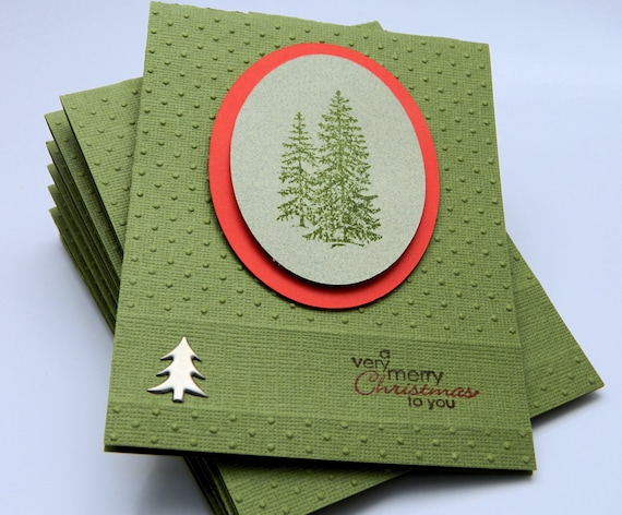 Handmade Greeting Card Set, Merry Christmas, Pine Trees, Candy Apple Red And Evergreen, Embossed