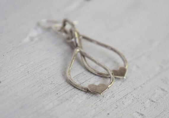 Sterling Silver Heart Earrings - Sterling Silver Heart in a Teardrop - Bereavement Jewelry - Remembrance Jewelry