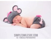 Crochet baby elephant set, size newborn - an adorable baby shower gift,  made to order
